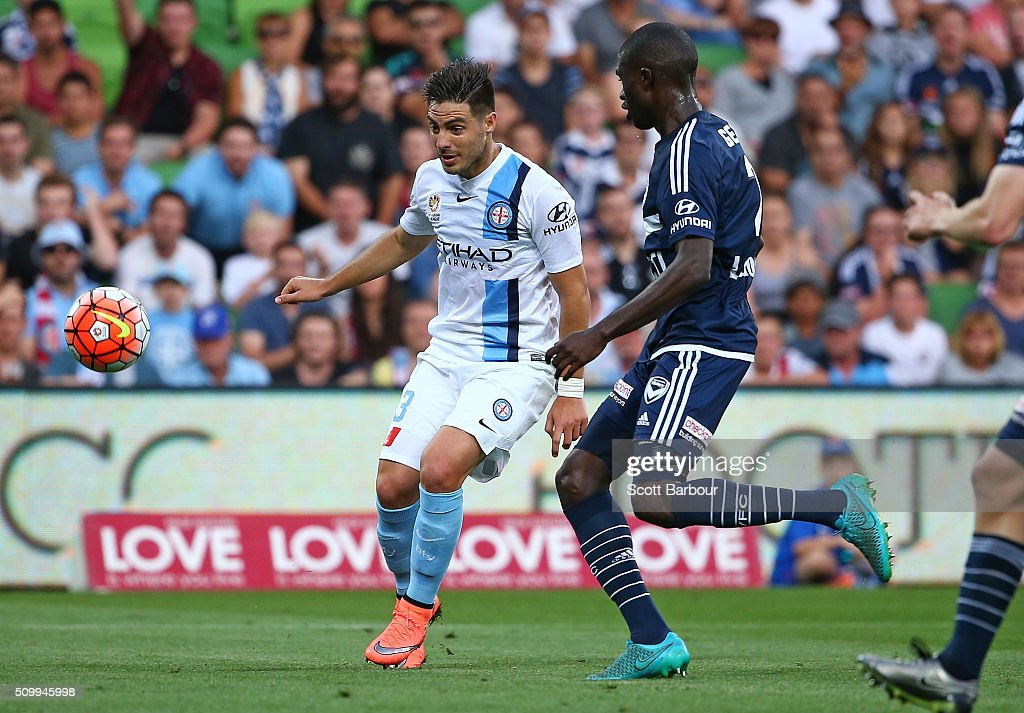 Bruno Fornaroli of City FC shoots to score the first goal during the round 19 A-League match between Melbourne City FC and Melbourne Victory at AAMI Park on February 13, 2016 in Melbourne, Australia.