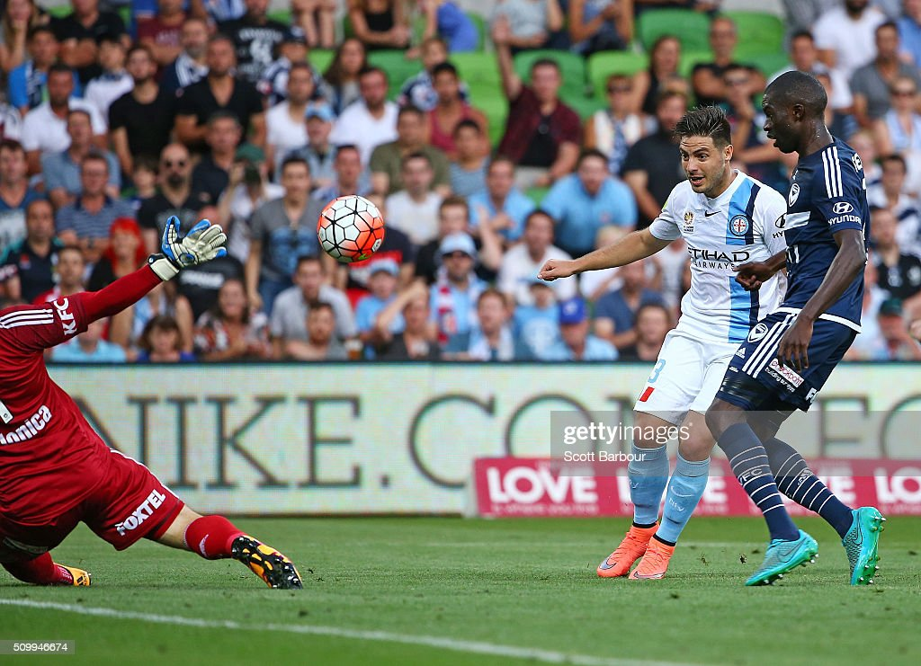 <a gi-track='captionPersonalityLinkClicked' href=/galleries/search?phrase=Bruno+Fornaroli&family=editorial&specificpeople=4952582 ng-click='$event.stopPropagation()'>Bruno Fornaroli</a> of City FC shoots to score the first goal during the round 19 A-League match between Melbourne City FC and Melbourne Victory at AAMI Park on February 13, 2016 in Melbourne, Australia.