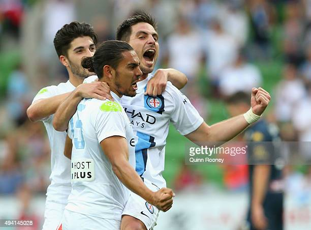 Bruno Fornaroli of City is congratulated by Paulo Retre and David Williams after scoring a goal during the round three ALeague match between...