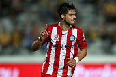 Bruno Fornaroli of Melbourne City celebrates a goal during the round nine ALeague match between the Central Coast Mariners and Melbourne City FC at...