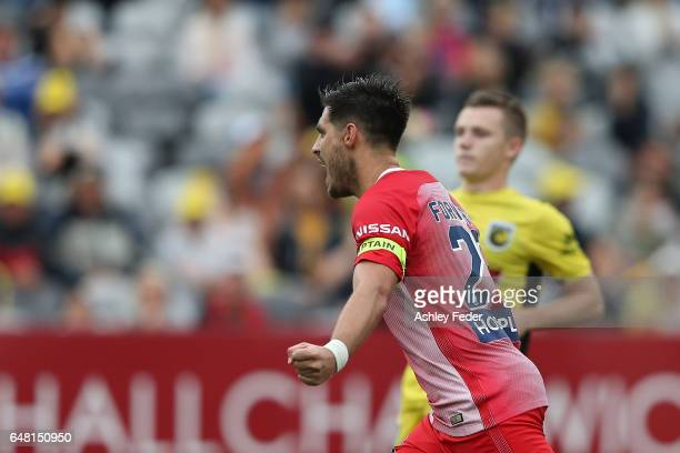 Bruno Fornaroli of Melbourne City celebrates a goal during the round 22 ALeague match between the Central Coast Mariners and Melbourne City FC at...