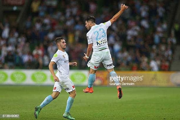 Bruno Fornaroli of Melbourne City celebrates a goal with teammate Benjamin Garuccio during the round 22 ALeague match between Melbourne City FC and...