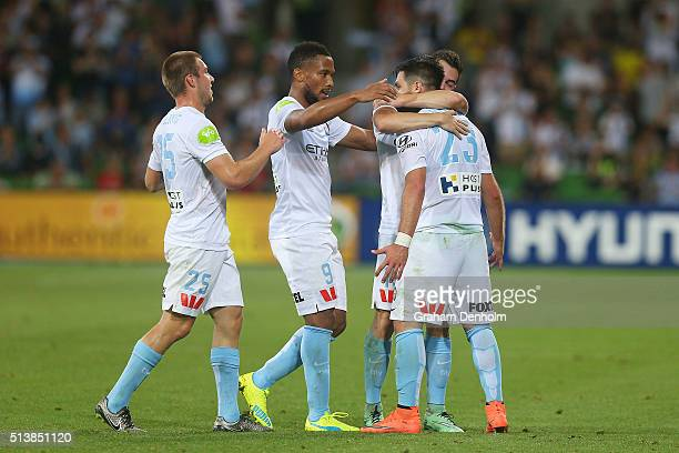 Bruno Fornaroli of Melbourne City celebrates a goal with teammates during the round 22 ALeague match between Melbourne City FC and Sydney FC at AAMI...