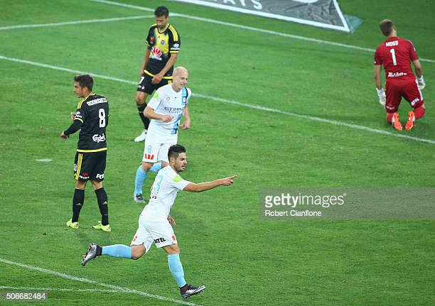 Bruno Fornaroli of Melbourne City celebrates after scoring a goal during the round 16 ALeague match between Melbourne City FC and Wellington Phoenix...