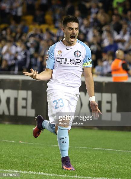 Bruno Fornaroli of Melbourne City celebrates after scoring a goal during the round two ALeague match between Melbourne Victory and Melbourne City FC...