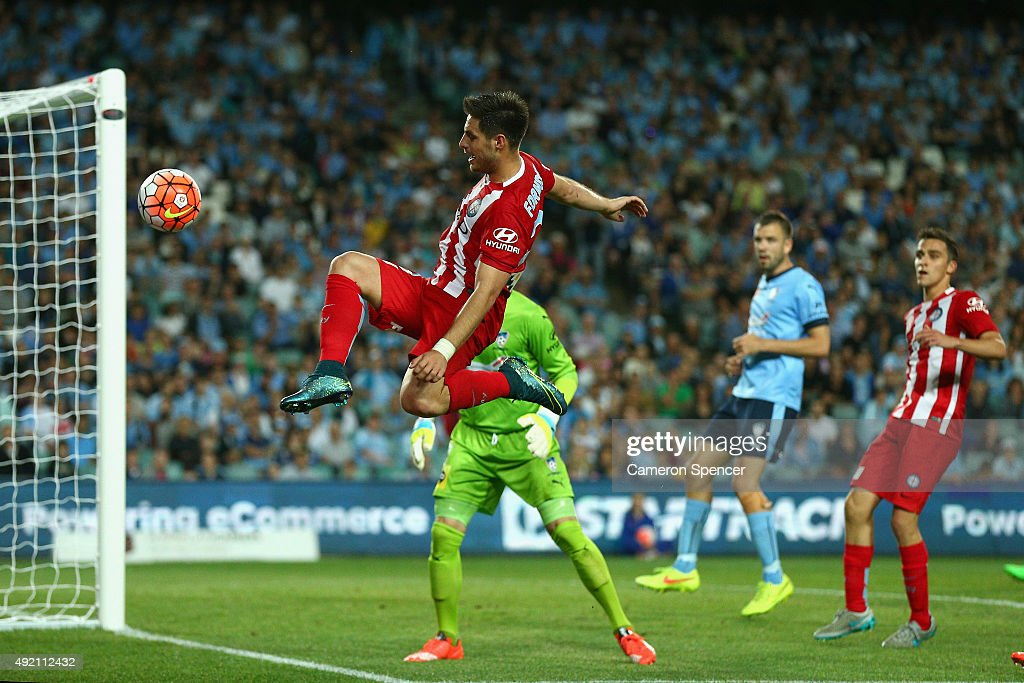 Bruno Fornaroli of Melbourne City FC kicks during the round one A-League match between Sydney FC and Melbourne City FC at Allianz Stadium on October 10, 2015 in Sydney, Australia.