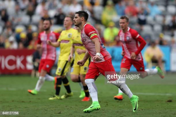 Bruno Fornaroli of Melbourne City scores a goal from a free kick during the round 22 ALeague match between the Central Coast Mariners and Melbourne...