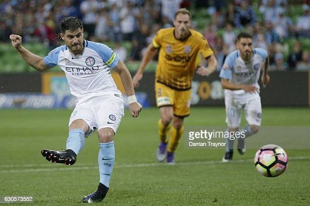 Bruno Fornaroli of Melbourne City scores during the round 12 ALeague match between Melbourne City and Perth Glory at AAMI Park on December 27 2016 in...