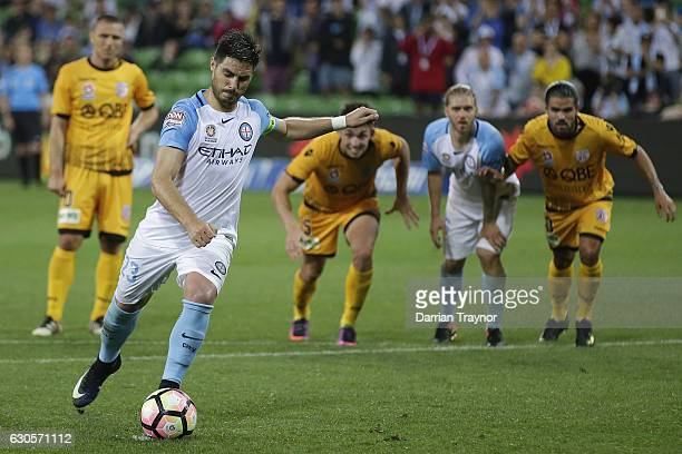 Bruno Fornaroli of Melbourne City takes a penalty during the round 12 ALeague match between Melbourne City and Perth Glory at AAMI Park on December...