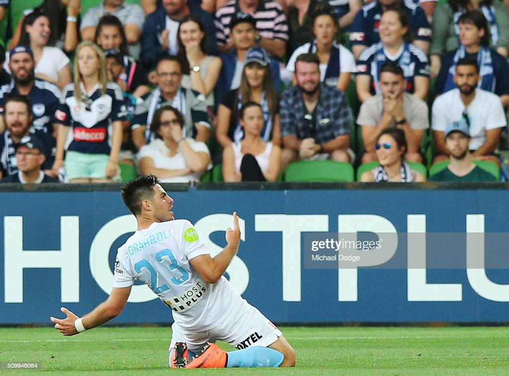 Bruno Fornaroli of the City celebrates a goal during the round 19 A-League match between Melbourne City FC and Melbourne Victory at AAMI Park on February 13, 2016 in Melbourne, Australia.