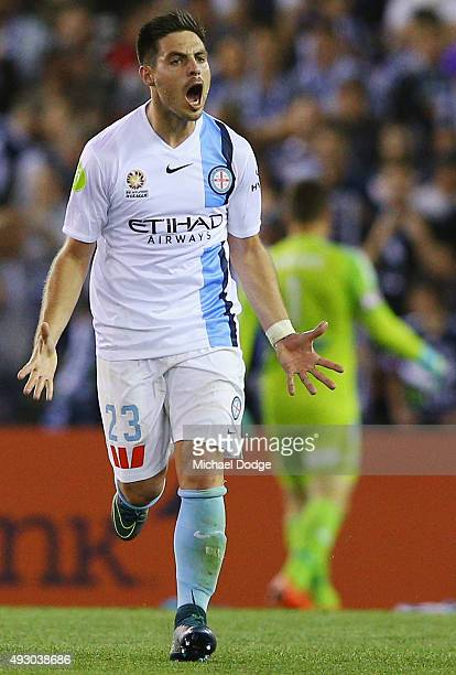 Bruno Fornaroli of the City celebrates a goal during the round two ALeague match between Melbourne Victory and Melbourne City FC at Etihad Stadium on...