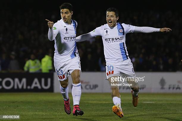Bruno Fornaroli of the City celebrates a goal with Robert Koren during the FFA Cup Quarter Final match between Heidleberg United and Melbourne City...