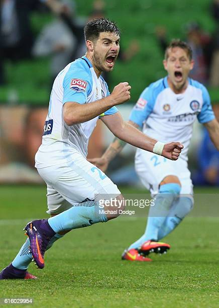 Bruno Fornaroli of the City celebrates a penalty goal during the round three ALeague match between Melbourne City FC and Perth Glory at AAMI Park on...