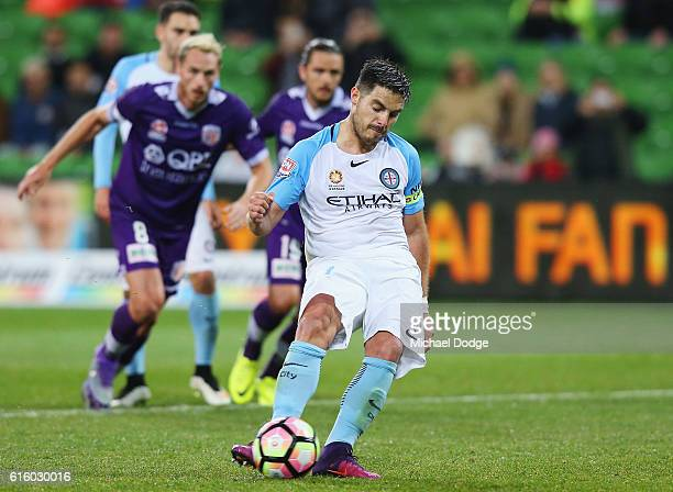 Bruno Fornaroli of the City kicks a penalty goal during the round three ALeague match between Melbourne City FC and Perth Glory at AAMI Park on...