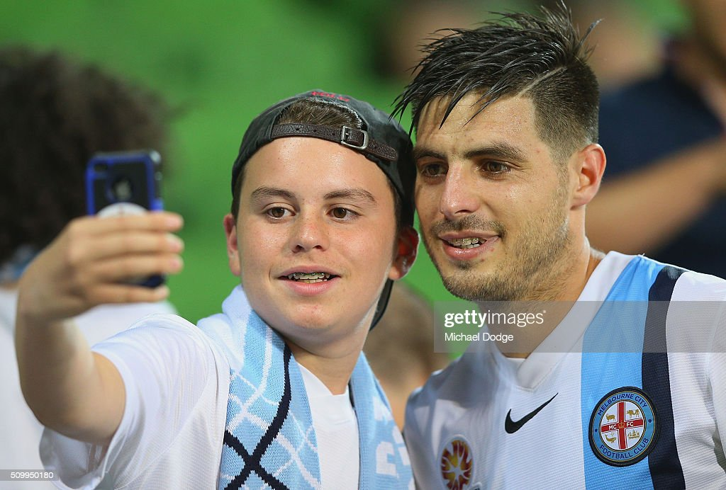 <a gi-track='captionPersonalityLinkClicked' href=/galleries/search?phrase=Bruno+Fornaroli&family=editorial&specificpeople=4952582 ng-click='$event.stopPropagation()'>Bruno Fornaroli</a> of the City poses with a fan after the round 19 A-League match between Melbourne City FC and Melbourne Victory at AAMI Park on February 13, 2016 in Melbourne, Australia.