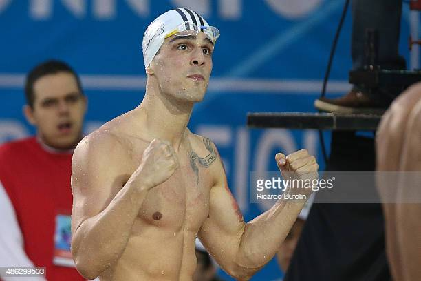 Bruno Fratus celebrates second place in the 50m Freestyle Final on day three of the Maria Lenk Swimming Trophy 2014 at Ibirapuera Sports Complex on...