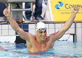 Bruno Fratus celebrates victory after winning the Men's 50m freestyle finals on day three of the Maria Lenk Swimming Trophy 2015 at Fluminense Club...