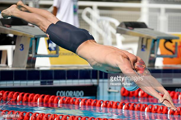 Bruno Fratus dives in for the 50m Freestyle qualifying on day three of the Maria Lenk Swimming Trophy 2014 at Ibirapuera Sports Complex on April 23...