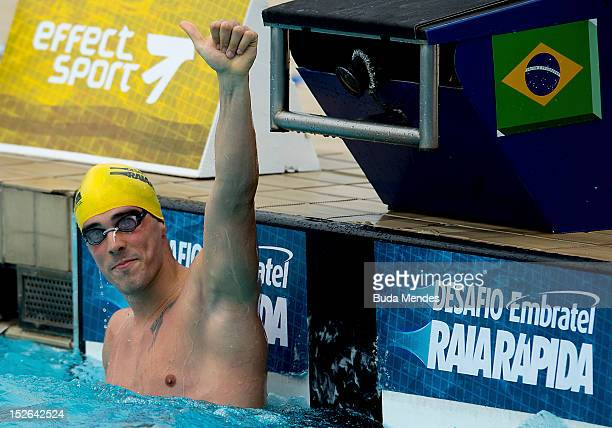 Bruno Fratus of Brazil celebrates a victory during the Desafio Raisa Rapida at Julio Delamare Aquatic Park on September 23 2012 in Rio de Janeiro...