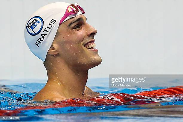 Bruno Fratus of Brazil celebrates after swimming the Men's 50m Freestyle finals during the Maria Lenk Trophy competition at the Aquece Rio Test Event...