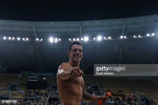 Bruno Fratus of Brazil celebrates the victory after competing the Men's 50m Freestyle final during Maria Lenk Swimming Trophy 2017 Day 5 at Maria...