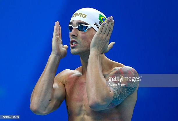 Bruno Fratus of Brazil prepares in the Men's 50m Freestyle heat on Day 6 of the Rio 2016 Olympic Games at the Olympic Aquatics Stadium on August 11...