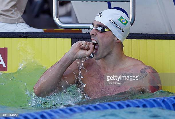 Bruno Fratus of Brazil reacts after he won the men's 50 meter freestyle final during the 2014 Arena Grand Prix of Santa Clara at the George F Haines...
