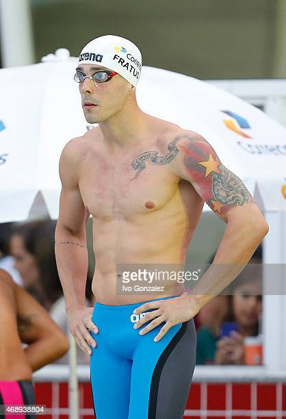 Bruno Fratus prepares to compete in the Men's 50m freestyle finals on day three of the Maria Lenk Swimming Trophy 2015 at Fluminense Club on April 8...