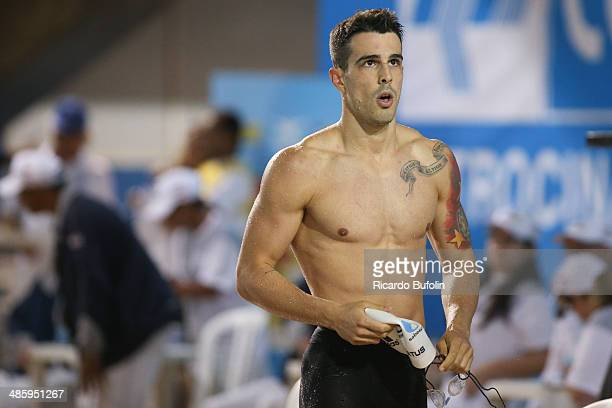 Bruno Fratus second place in the 4x50 Freestyle Relay final on day one of the Maria Lenk Swimming Trophy 2014 at Ibirapuera Sports Complex on April...