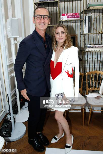 Bruno Frisoni and Olivia Palermo attend the Schiaparelli Haute Couture Fall/Winter 20172018 show as part of Haute Couture Paris Fashion Week on July...