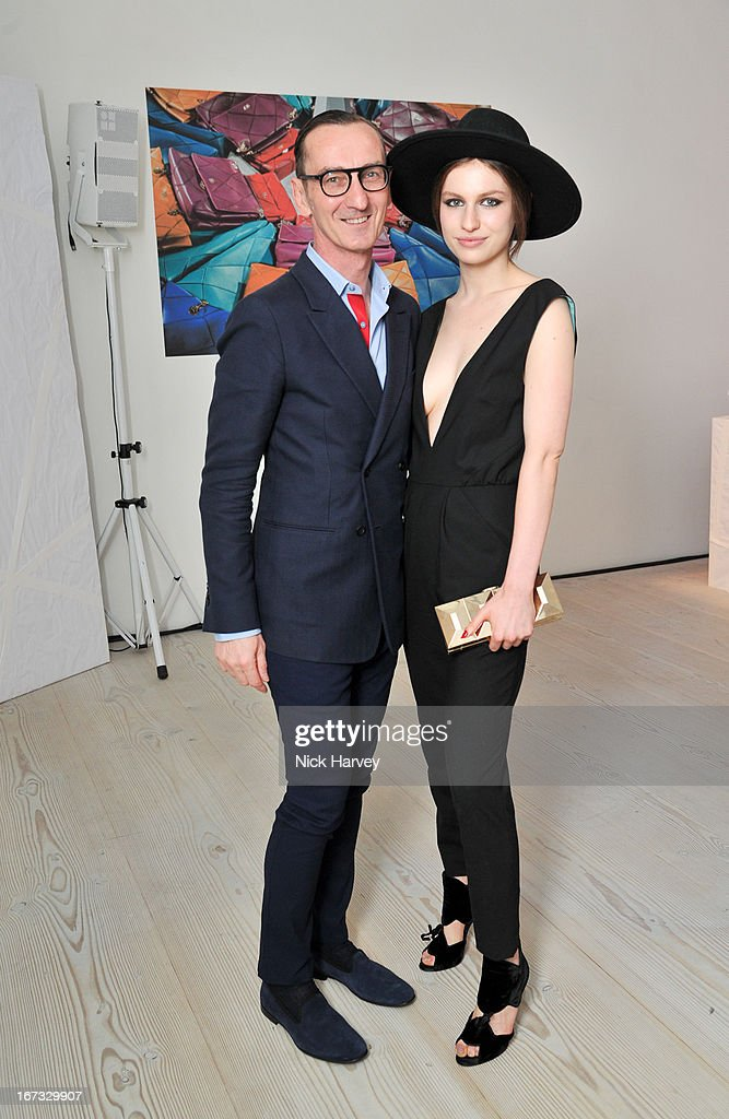 Bruno Frisoni and <a gi-track='captionPersonalityLinkClicked' href=/galleries/search?phrase=Tali+Lennox&family=editorial&specificpeople=5602601 ng-click='$event.stopPropagation()'>Tali Lennox</a> attend the Roger Vivier book launch party at Saatchi Gallery on April 24, 2013 in London, England.