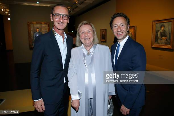 Bruno Frisoni Maryvonne Pinault and Stephane Bern attend the 'Societe ses Amis du Musee d'Orsay' Dinner Party at Musee d'Orsay on June 19 2017 in...