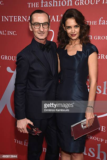 Bruno Frisoni poses with award for Designer Roger Vivier and actress Katie Holmes at the 2015 Fashion Group International Night Of Stars Gala at...