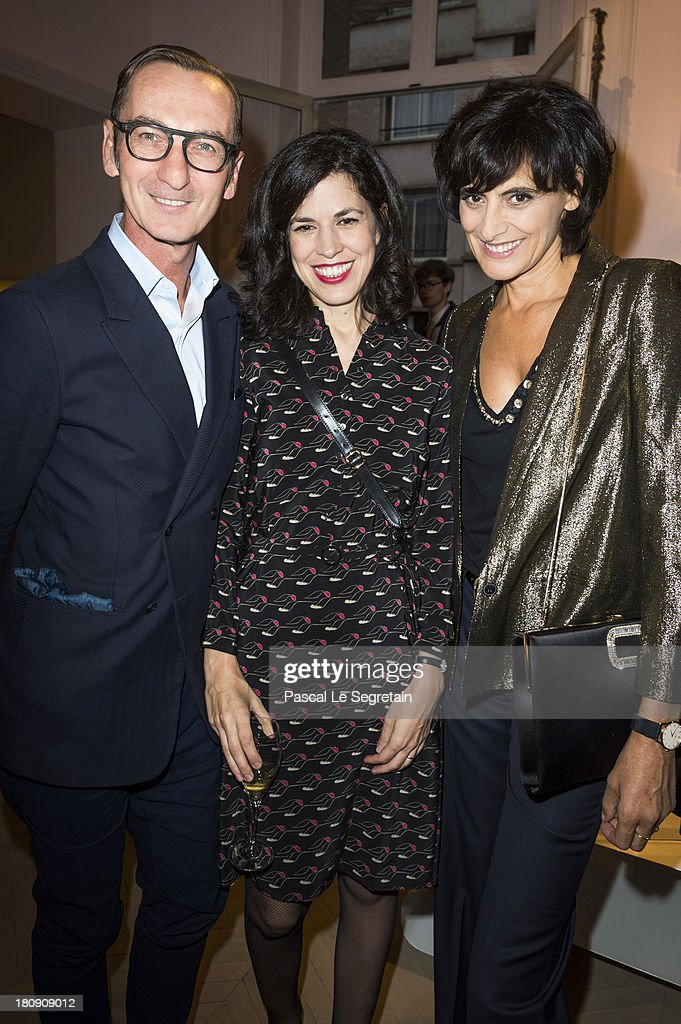 Bruno Frisoni, <a gi-track='captionPersonalityLinkClicked' href=/galleries/search?phrase=Vanessa+Seward&family=editorial&specificpeople=4360838 ng-click='$event.stopPropagation()'>Vanessa Seward</a> and Ines de La Fressange attend the Vogue Fashion Night Out event at boutique Roger Vivier on 29 Faubourg Saint-Honore, on September 17, 2013 in Paris, France.