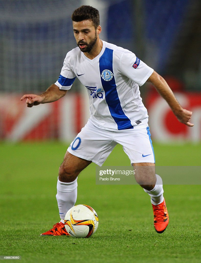 <a gi-track='captionPersonalityLinkClicked' href=/galleries/search?phrase=Bruno+Gama&family=editorial&specificpeople=2251634 ng-click='$event.stopPropagation()'>Bruno Gama</a> of FC Dnipro Dnipropetrovsk in action during the UEFA Europa League group G match between SS Lazio and FC Dnipro Dnipropetrovsk at Olimpico Stadium on November 26, 2015 in Rome, Italy.