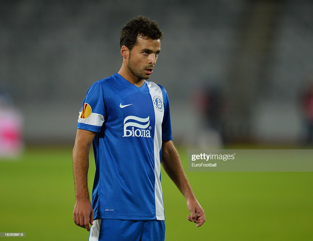 <a gi-track='captionPersonalityLinkClicked' href=/galleries/search?phrase=Bruno+Gama&family=editorial&specificpeople=2251634 ng-click='$event.stopPropagation()'>Bruno Gama</a> of FC Dnipro Dnipropetrovsk in action during the UEFA Europa League group stage match between CS Pandurii Targu Jiu and FC Dnipro Dnipropetrovsk held on September 19, 2013 at the Cluj Arena in Cluj-Napoca, Romania.