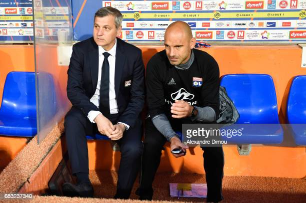 Bruno Genesio and Gerald Baticle Coachs of Lyon during the Ligue 1 match between Montpellier and Olympique Lyonnais Lyon at Stade de la Mosson on May...
