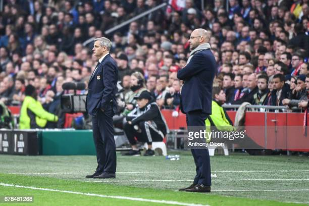 Bruno Genesio coach of Lyon and Peter Bosz coach of Ajax during the Uefa Europa League semi final first leg match between Ajax Amsterdam and...