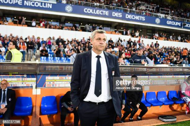 Bruno Genesio Coach of Lyon during the Ligue 1 match between Montpellier and Olympique Lyonnais Lyon at Stade de la Mosson on May 14 2017 in...
