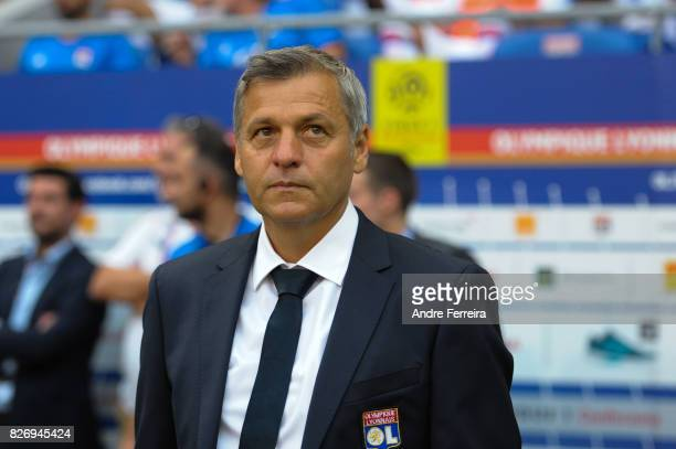 Bruno Genesio coach of Lyon during the Ligue 1 match between Olympique Lyonnais and Strasbourg at Parc Olympique on August 5 2017 in Lyon