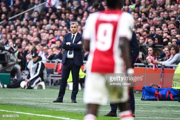 Bruno Genesio coach of Lyon during the Uefa Europa League semi final first leg match between Ajax Amsterdam and Olympique Lyonnais at Amsterdam Arena...