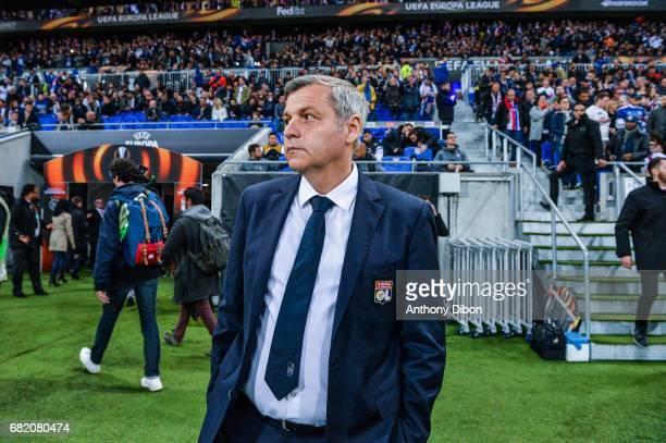 Bruno Genesio coach of Lyon during the Uefa Europa League semi final second leg match between Olympique Lyonnais Lyon and Ajax Amsterdam at Parc...
