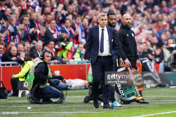 Bruno Genesio head coach and Alexandre Lacazette of Lyon during the Uefa Europa League semi final first leg match between Ajax Amsterdam and...