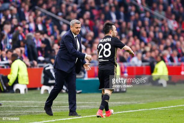 Bruno Genesio head coach and Mathieu Valbuena of Lyon celebrate his goal during the Uefa Europa League semi final first leg match between Ajax...
