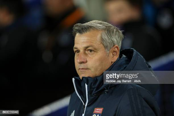 Bruno Genesio head coach / manager of Olympique Lyonnais during the UEFA Europa League group E match between Everton FC and Olympique Lyon at...