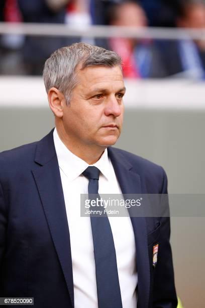 Bruno Genesio head coach of Lyon during the Uefa Europa League semi final first leg match between Ajax Amsterdam and Olympique Lyonnais at Amsterdam...
