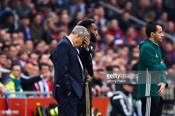 Bruno Genesio head coach of Lyon looks dejected during the Uefa Europa League semi final first leg match between Ajax Amsterdam and Olympique...