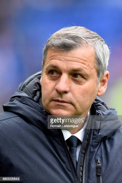 Bruno Genesio headcoach of Lyon during the Ligue 1 match between Olympique Lyonnais and Fc Nantes at Stade de Gerland on May 7 2017 in Lyon France