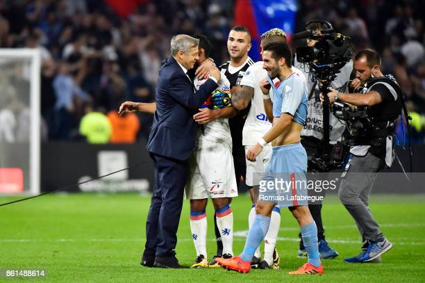 Bruno Genesio of Lyon and Nabil Fekir of Lyon celebrates at the end during the Ligue 1 match between Olympique Lyonnais and AS Monaco at Stade des...