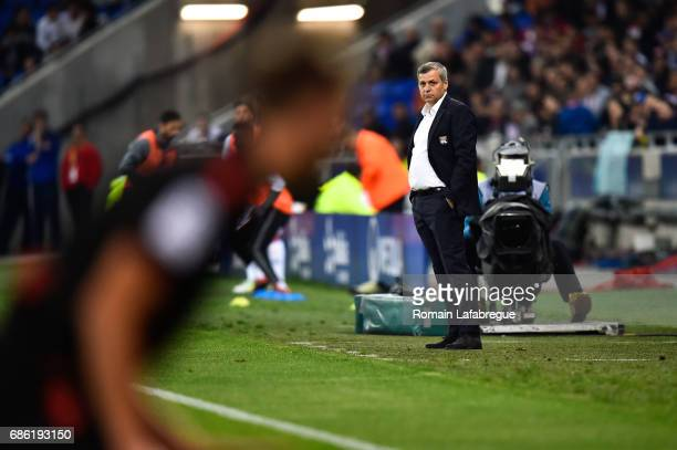 Bruno Genesio of Lyon during the Ligue 1 match between Olympique Lyonnais and OGC Nice at Stade des Lumieres on May 20 2017 in Decimes France